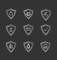 Protection shields chalk icons set vector