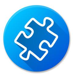 puzzle blue circle icon vector image