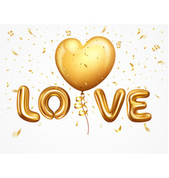 Realistic balloons letter love with ribbon vector