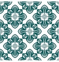 Retro green flowers seamless pattern vector