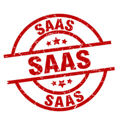 Saas round red grunge stamp vector