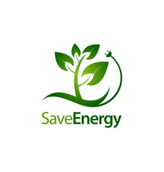 save energy stem leaves with electric plug icon vector image