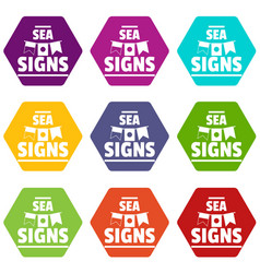 sea signs icons set 9 vector image