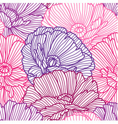 Seamless pattern with poppies vector