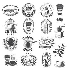 Set coffee logo badge template vector