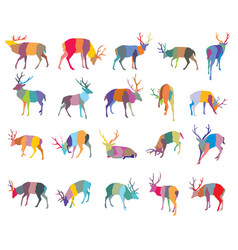 set colorful mosaic deer silhouettes-2 vector image