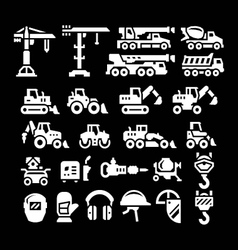 Set icons of construction equipment vector
