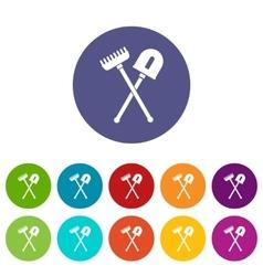 Shovel and rake set icons vector image
