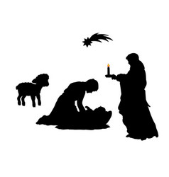 silhouette christmas family father joseph mom vector image
