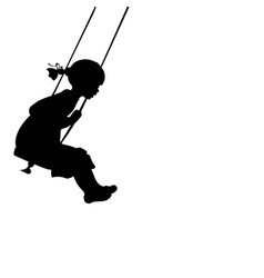 Silhouette girl play swinging swing vector