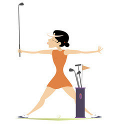 smiling woman with golf clubs on the golf course vector image