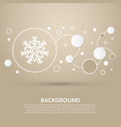 Snowflake icon on a brown background with elegant vector