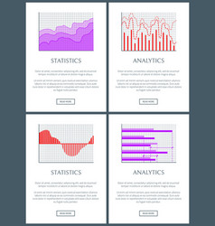 statistics and analytics graphs of lines and bars vector image