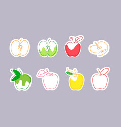 Sticker one line art style apple abstract food vector