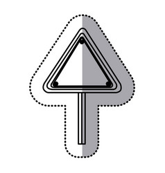 sticker silhouette triangle shape traffic sign vector image