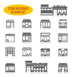 Store building icons set black vector