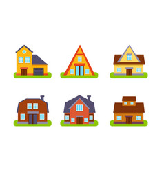 suburban residential cottages set real estate vector image