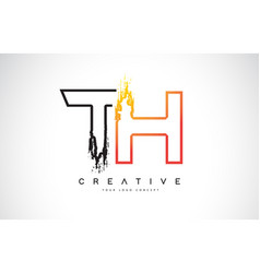 Th creative modern logo design with orange and vector