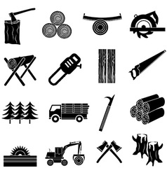 Timber icons set vector image