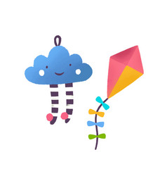 toy cloud and kite flat vector image
