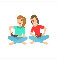 Two Teenage Girlfriends Sitting With Legs Crossed vector
