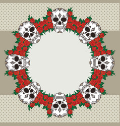 Vintage frame with skulls and text place vector