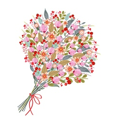 Watercolor flowers bouquet on white background vector