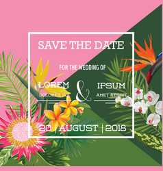 wedding card in tropical flowers summer banner vector image