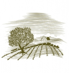 woodcut farm scene vector image