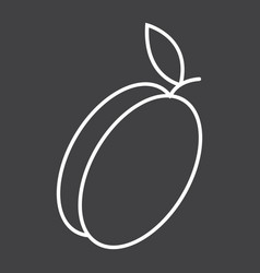Apricot line icon fruit and diet vector