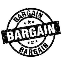 Bargain round grunge black stamp vector