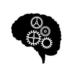 brain gear mind idea creativity vector image