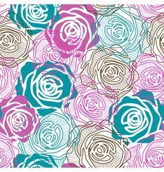 Color rose pattern vector image vector image