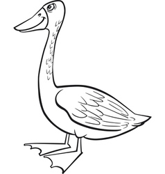 coloring page of funny farm goose vector image