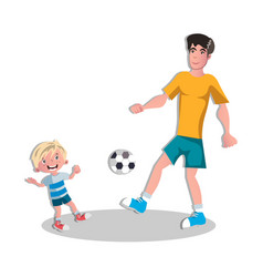 happy fathers with son playing football vector image