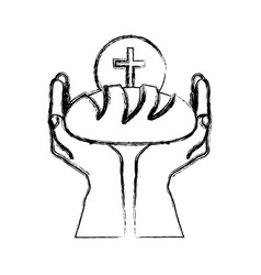 monochrome sketch silhouette of hands holding vector image