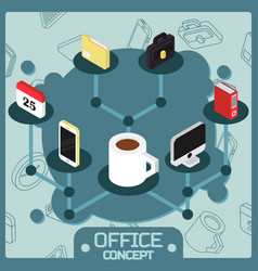 office color isometric concept icons vector image