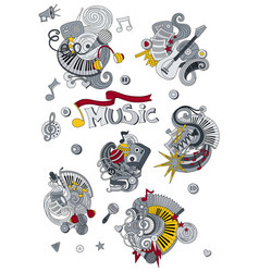 cartoon hand drawn doodles music vector image