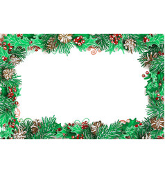 christmas horizontal frame of pine branches with vector image vector image