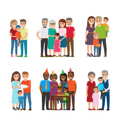 group portraits of happy families set vector image