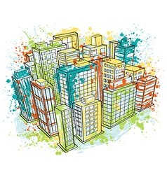 isometric city landscape with watercolor splashes vector image vector image