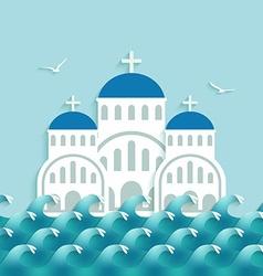 White Greek Church near blue sea vector image
