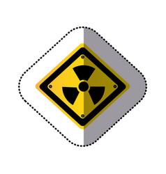 yellow metal emblem warning radiation sign vector image