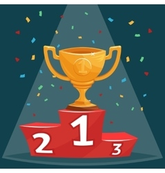 Gold trophy prize cup on podium vector image