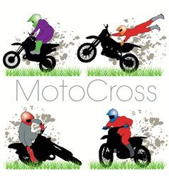 motocross silhouettes set vector image
