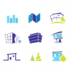 real estate and nature icons vector image vector image