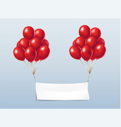 realistic textile banner with red balloons vector image
