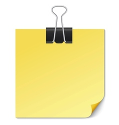 Yellow Note paper with Binder clip on white vector image