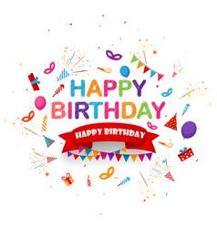 birthday celebration background with festive icon vector image