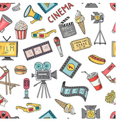 cinema collection set seamless pattern of vector image vector image